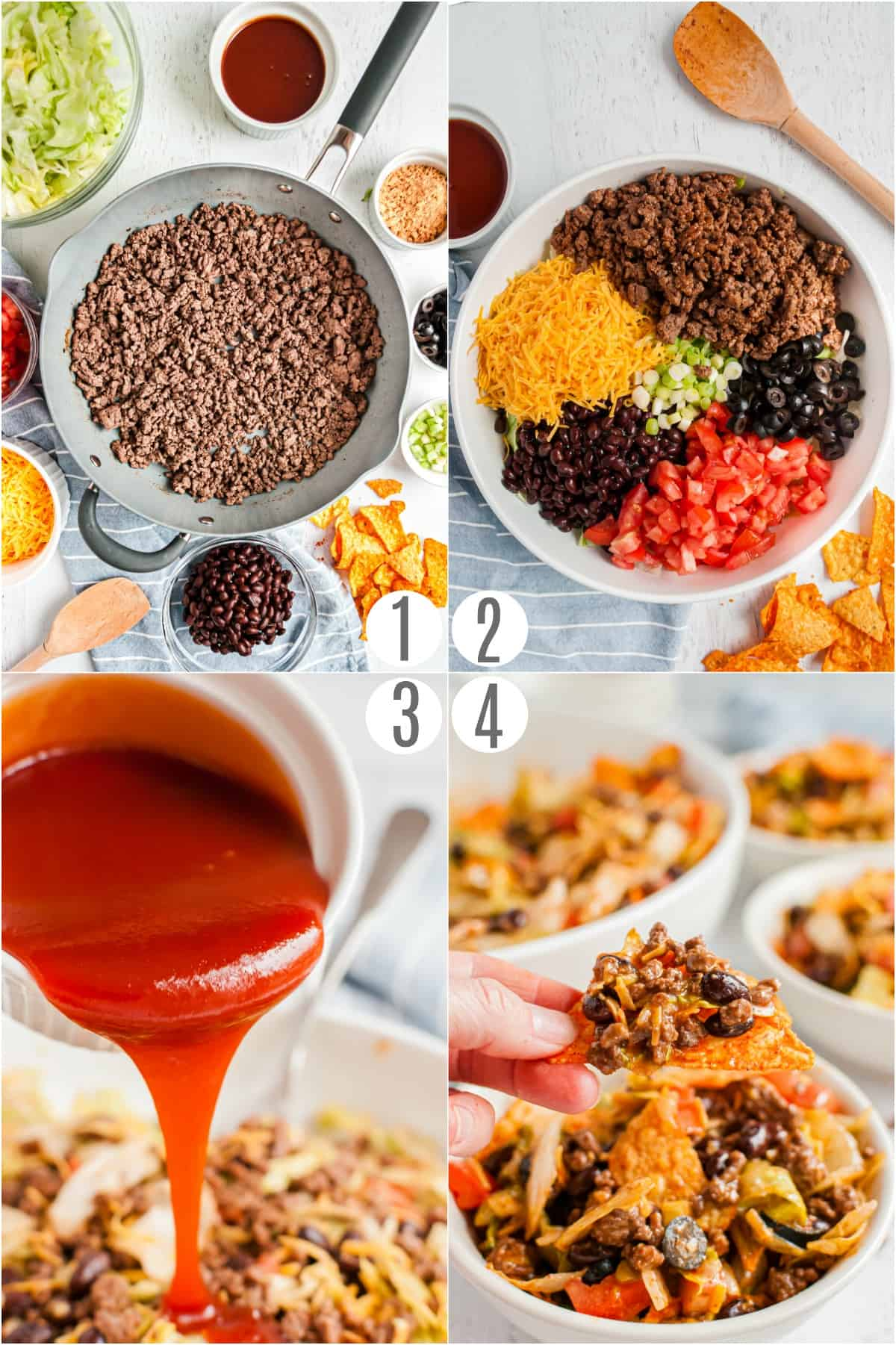 Step by step photos on how to make Dorito Taco Salad.