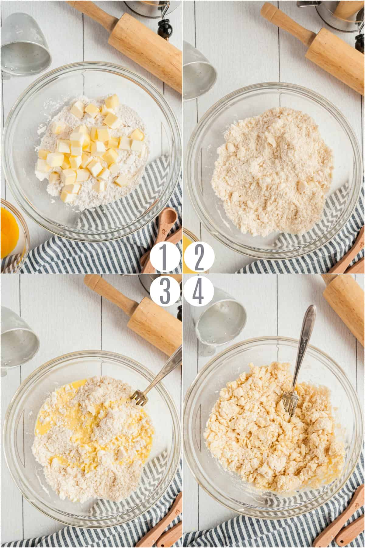 Step by step photos showing how to make homemade pie crust.