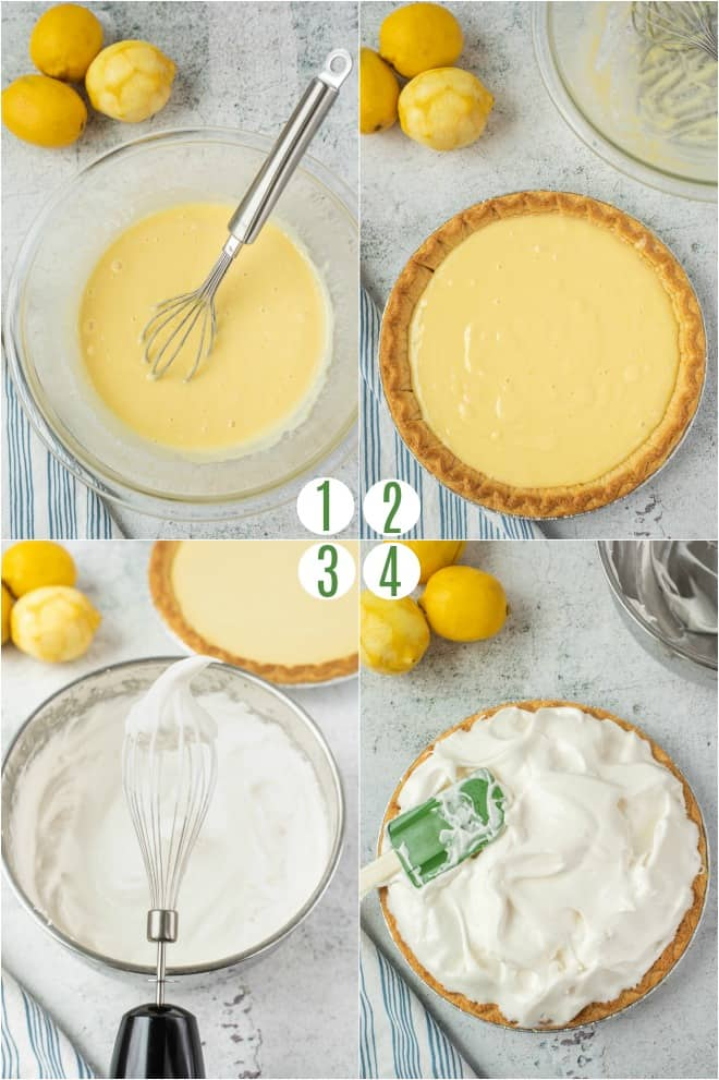 Step by step photo collage to make lemon pie filling and meringue topping.