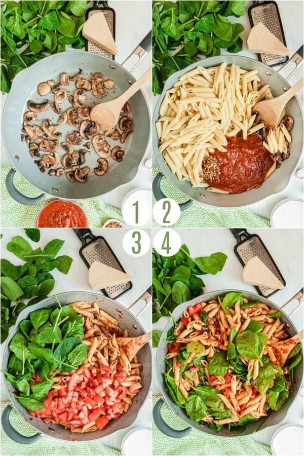 Step by step photo showing how to make penne rosa.
