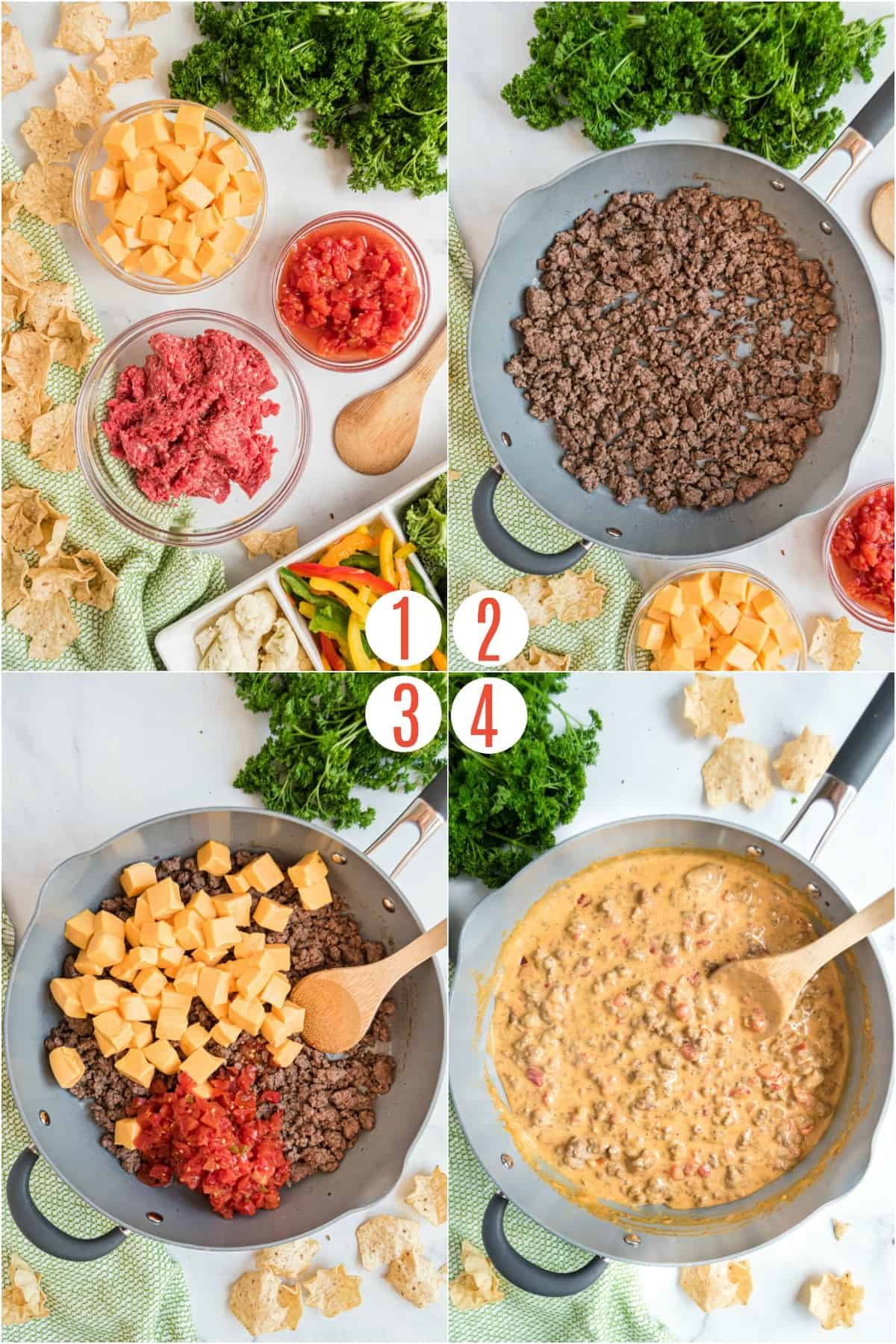 Step by step photos showing how to make rotel dip.