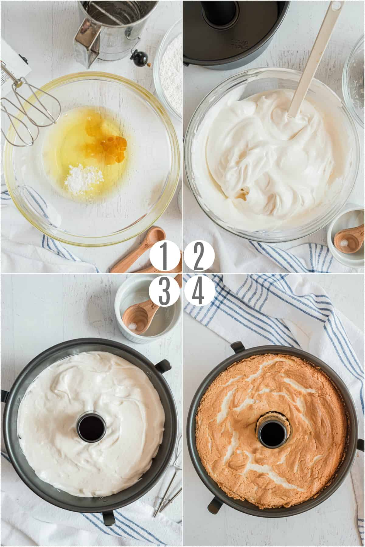 Step by step photos showing how to make angel food cake.