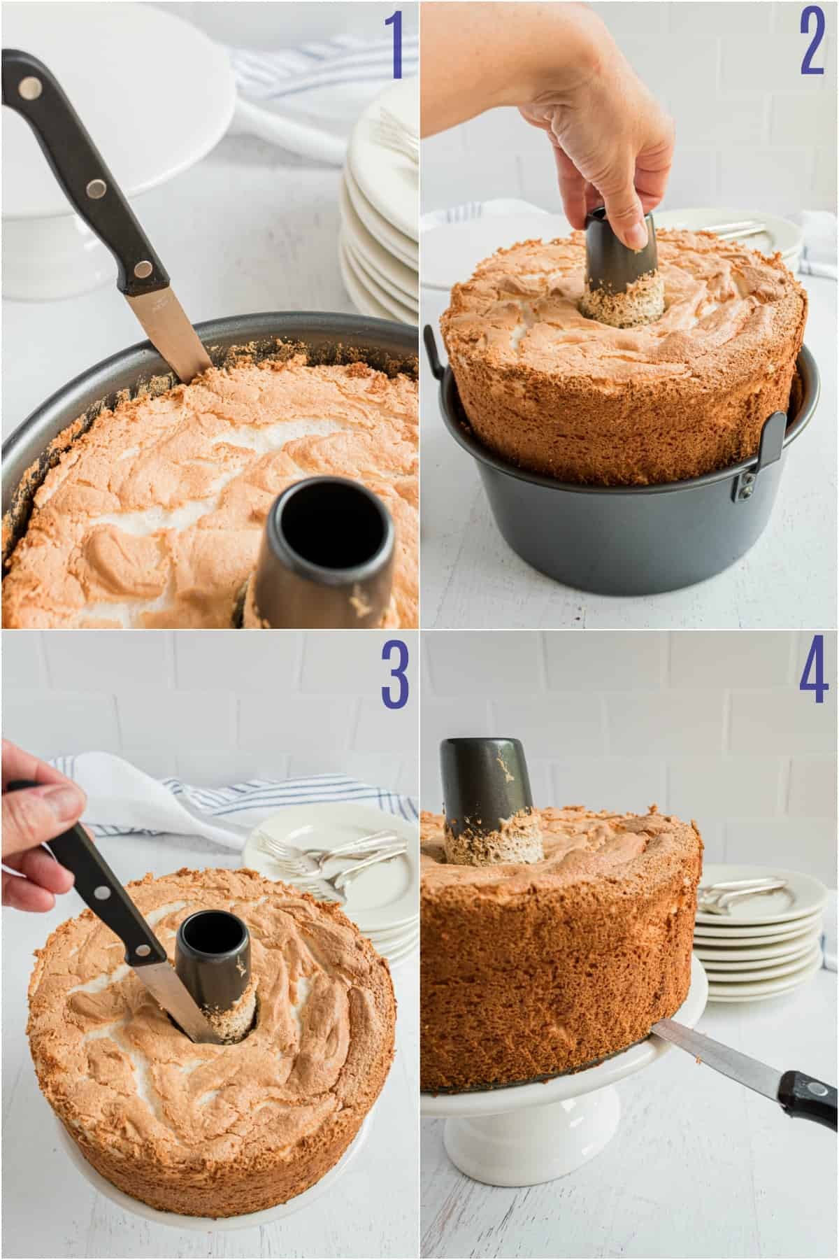 Step by step photos showing how to remove angel food cake from pan.