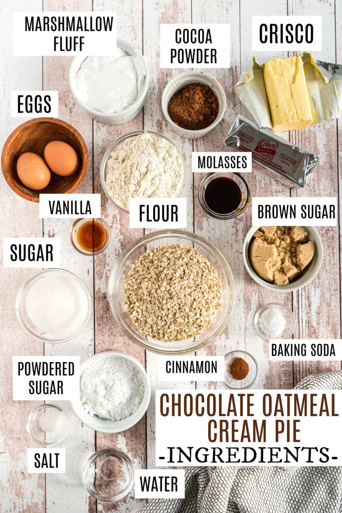 Ingredients needed for chocolate oatmeal cream pies.