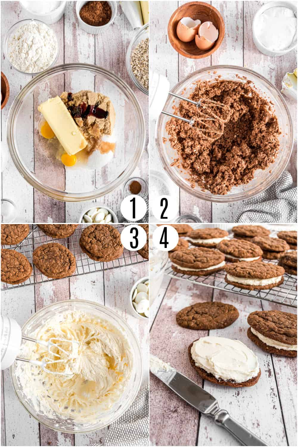 Step by step photos showing how to make chocolate oatmeal cream pies.
