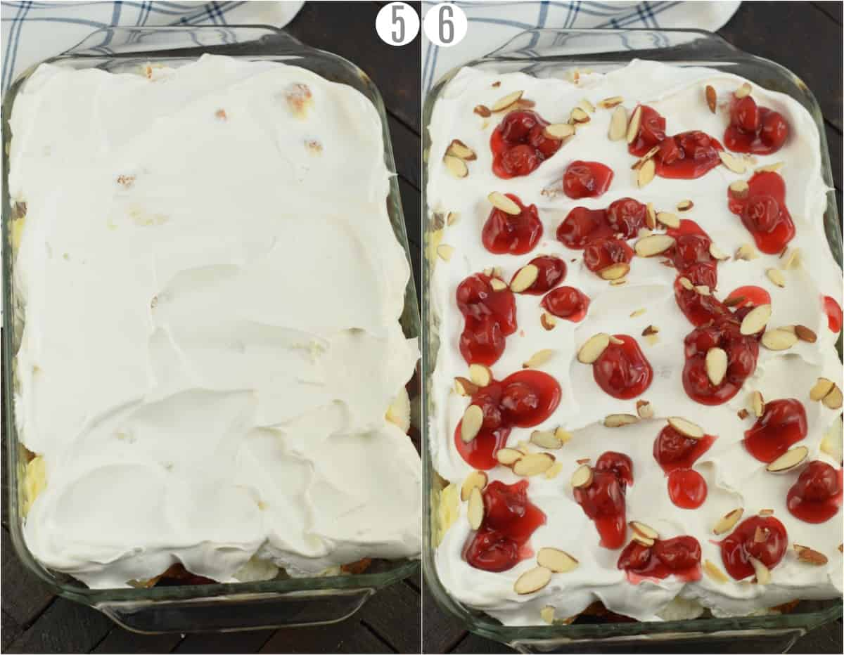Step by step photos showing how to put the toppings on an angel food cake dessert.