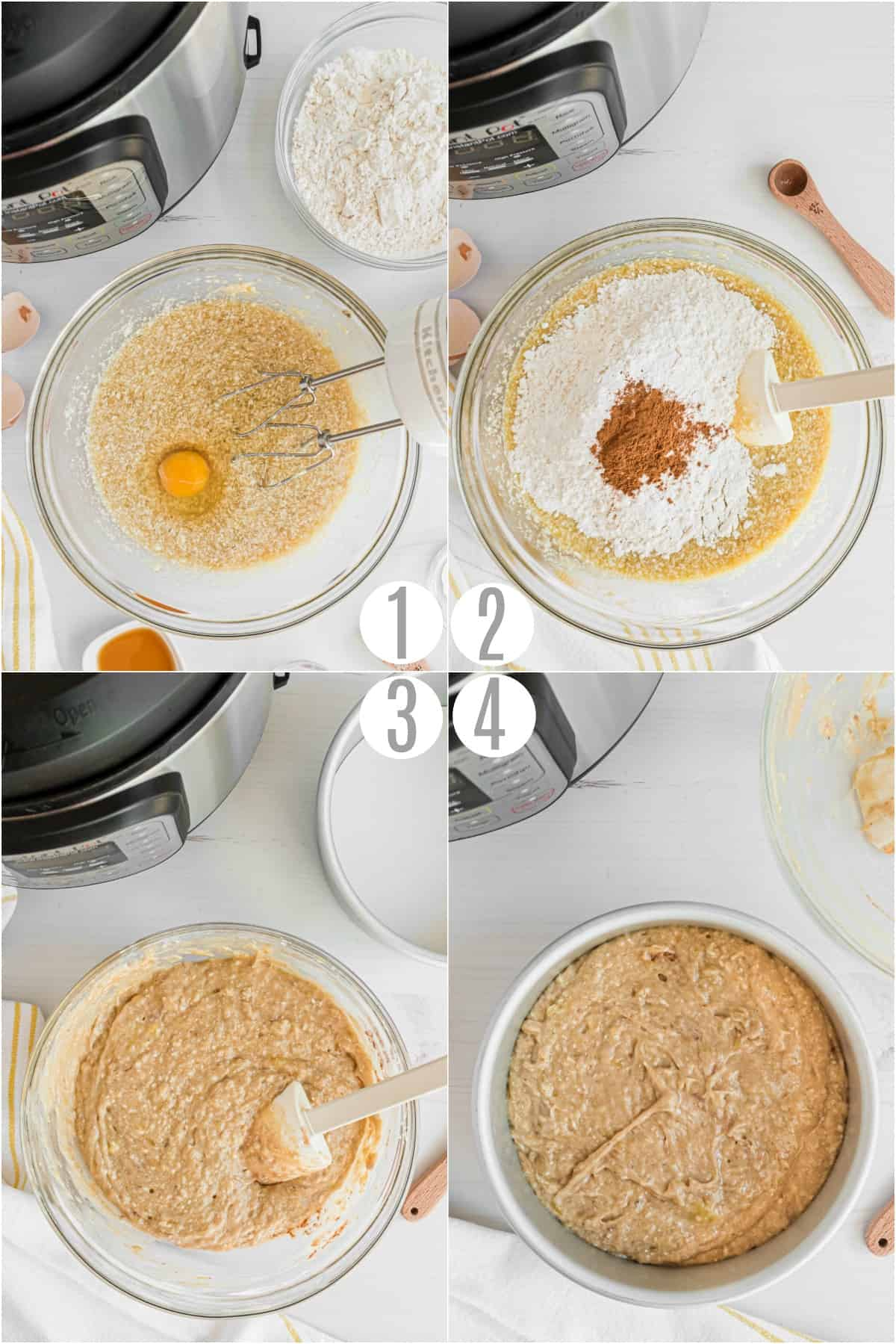 Step by step photos showing how to make banana bread batter.