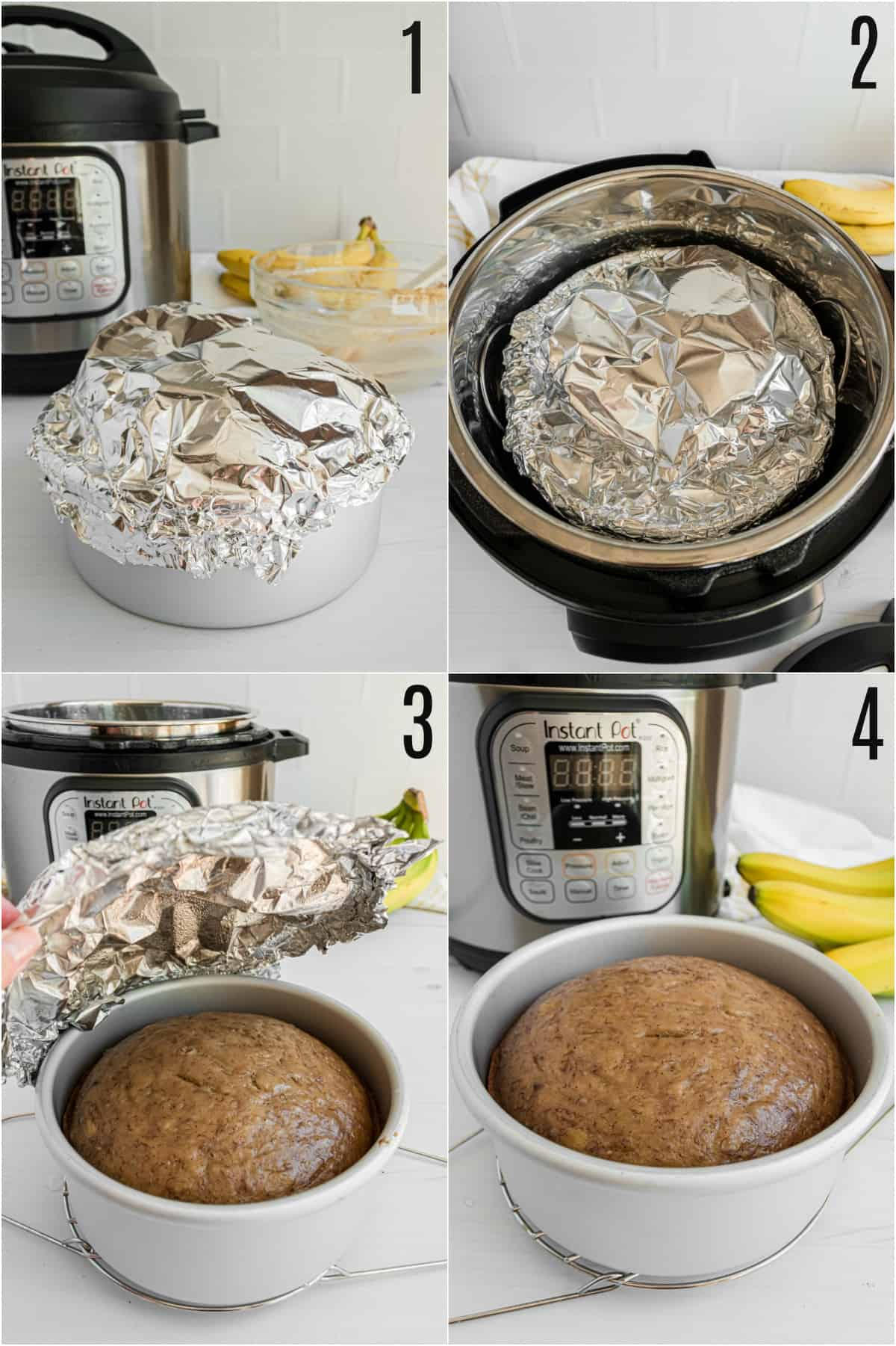 Step by step photos showing how to cover instant pot banana bread with foil.