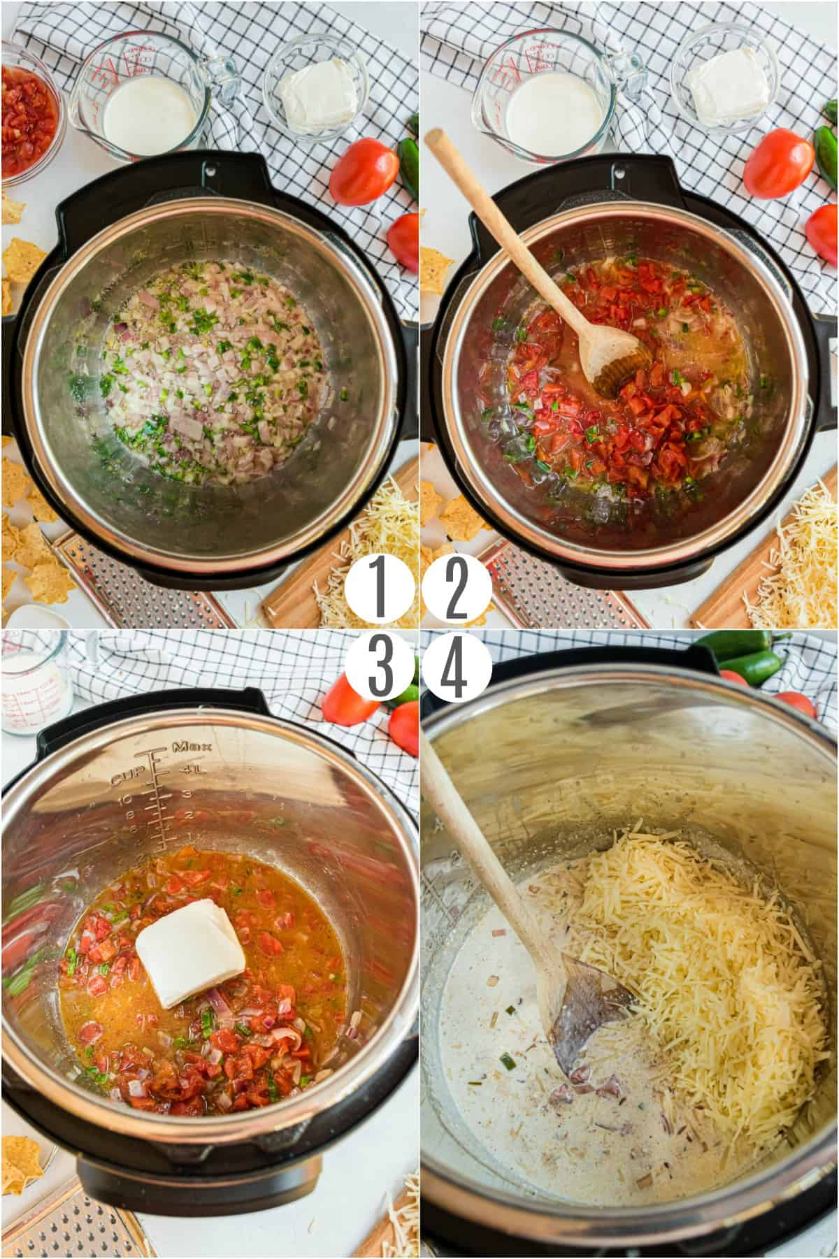 Step by step photos showing how to make queso in the pressure cooker.