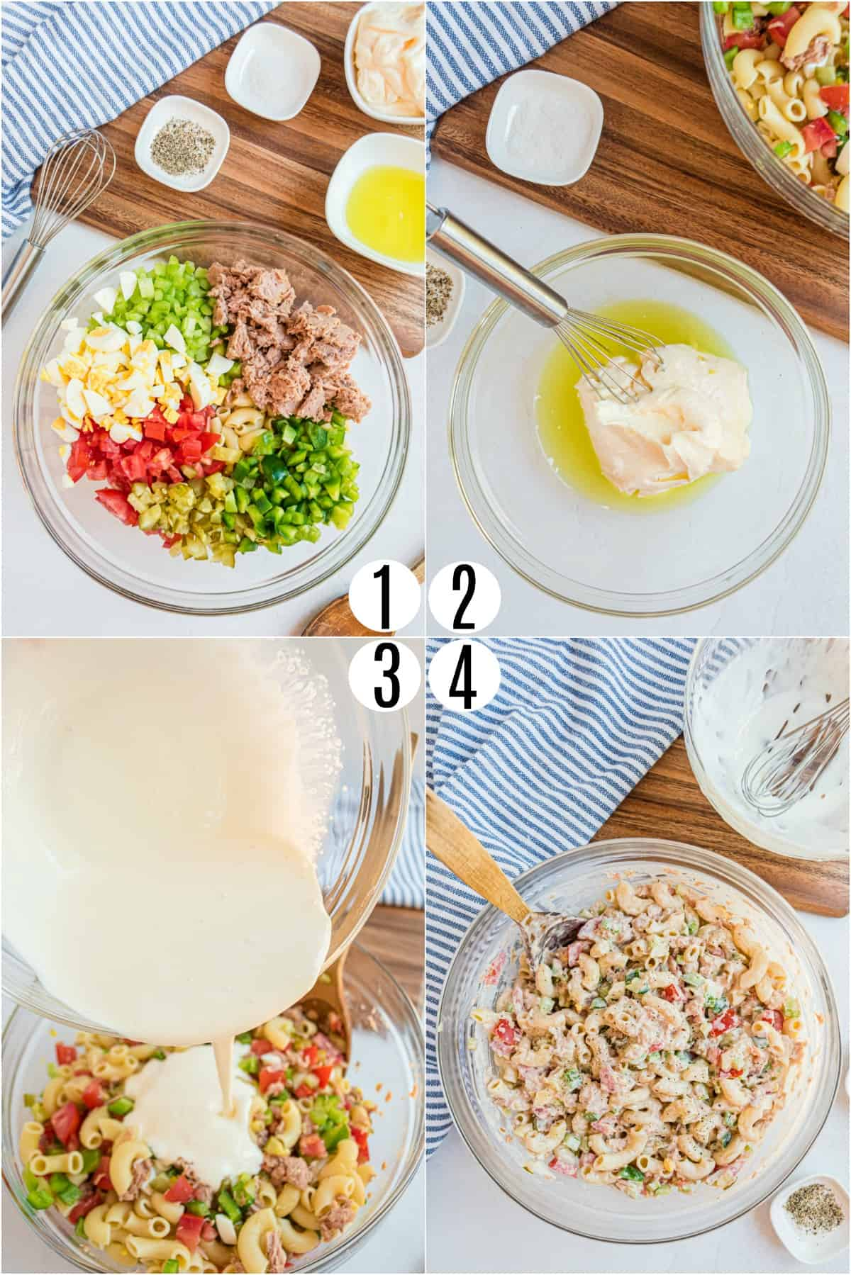 Step by step photos showing how to make macaroni pasta salad.