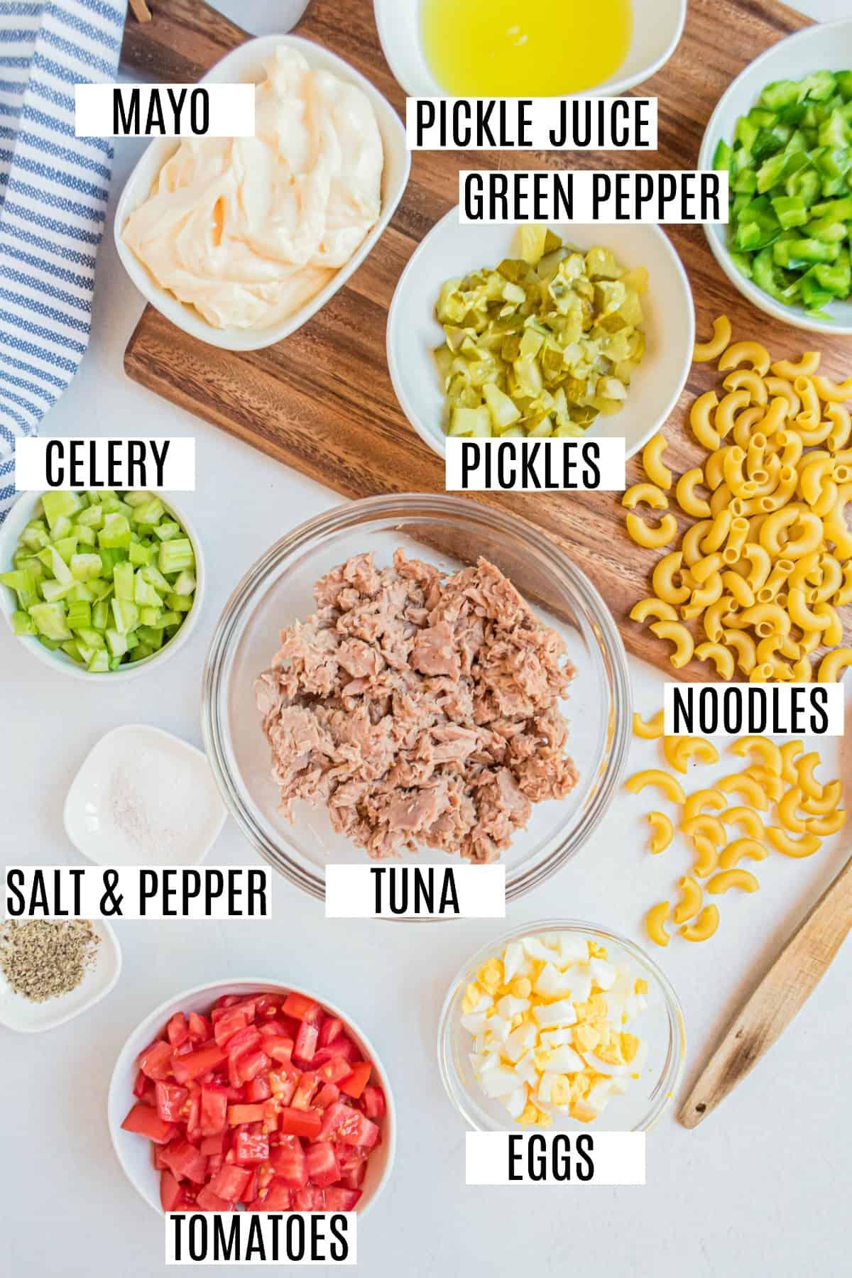 Ingredients to make macaroni salad with tuna.