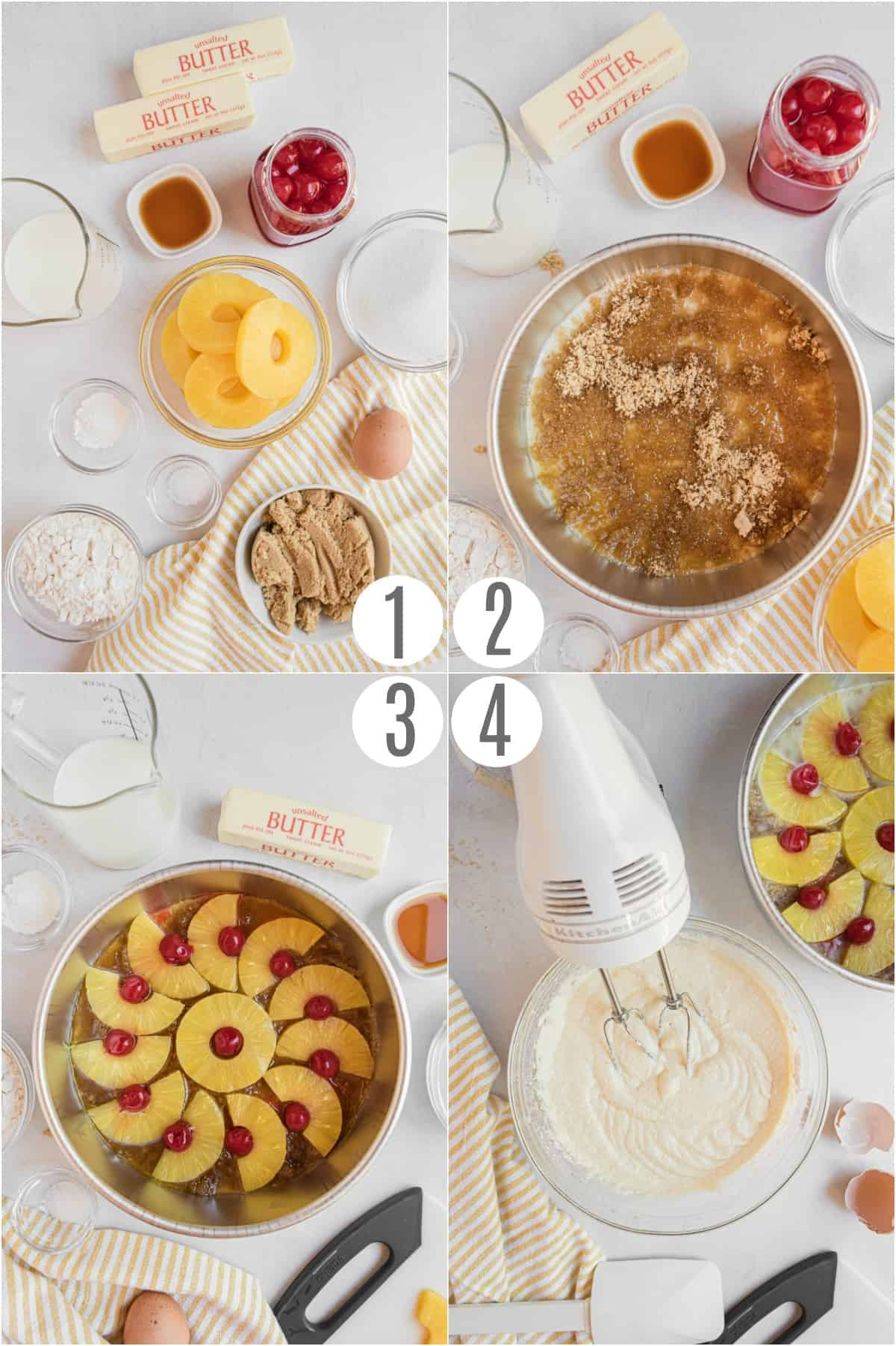 Step by step photos showing how to make pineapple upside down cake.