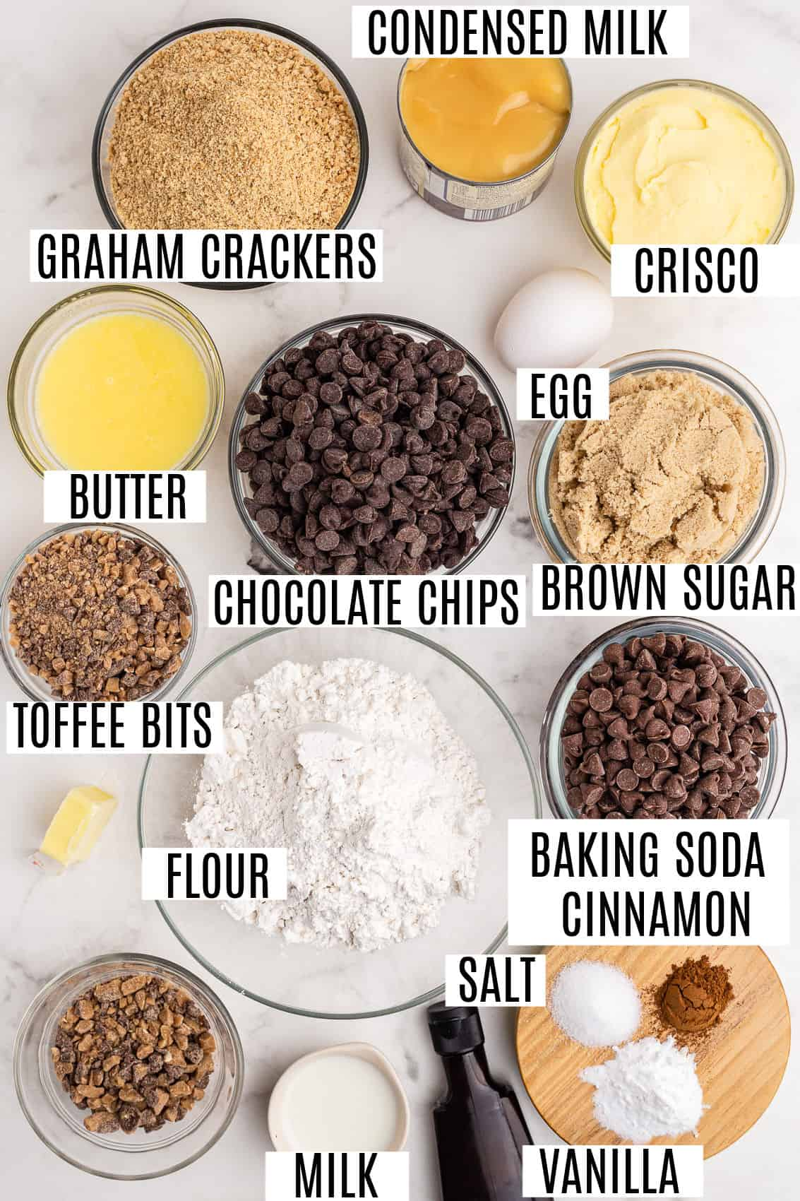 Ingredients needed to make toffee fudge chocolate chip bars.