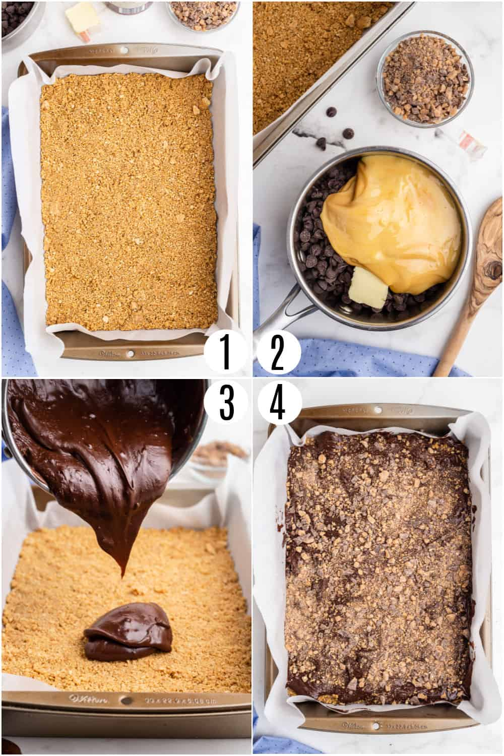 Step by step photos showing how to make toffee fudge bars.