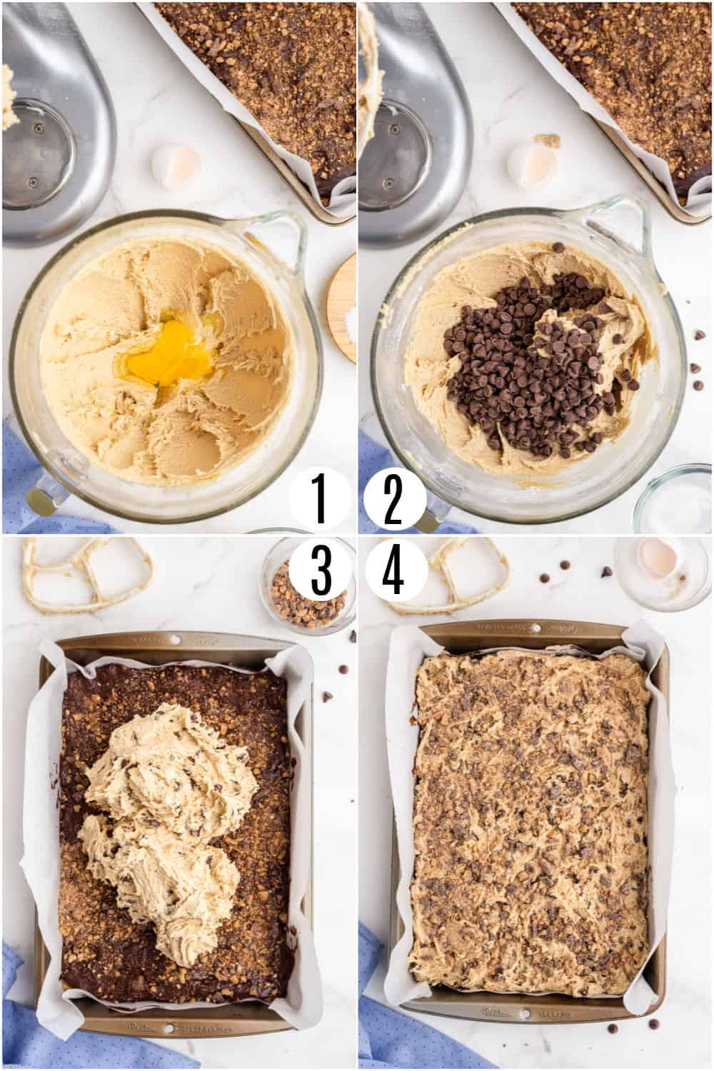 Step by step photos showing how to assemble toffee fudge bars.
