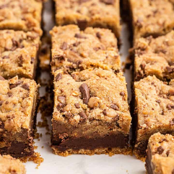 Layers of graham cracker crust, toffee fudge, and chocolate chip cookie dough.