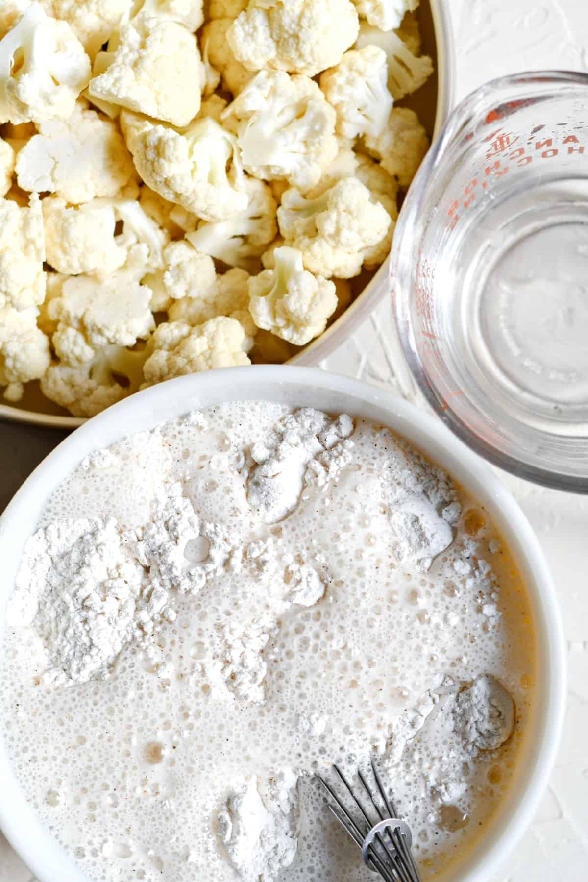 Seltzer water added to batter to make cauliflower wings.