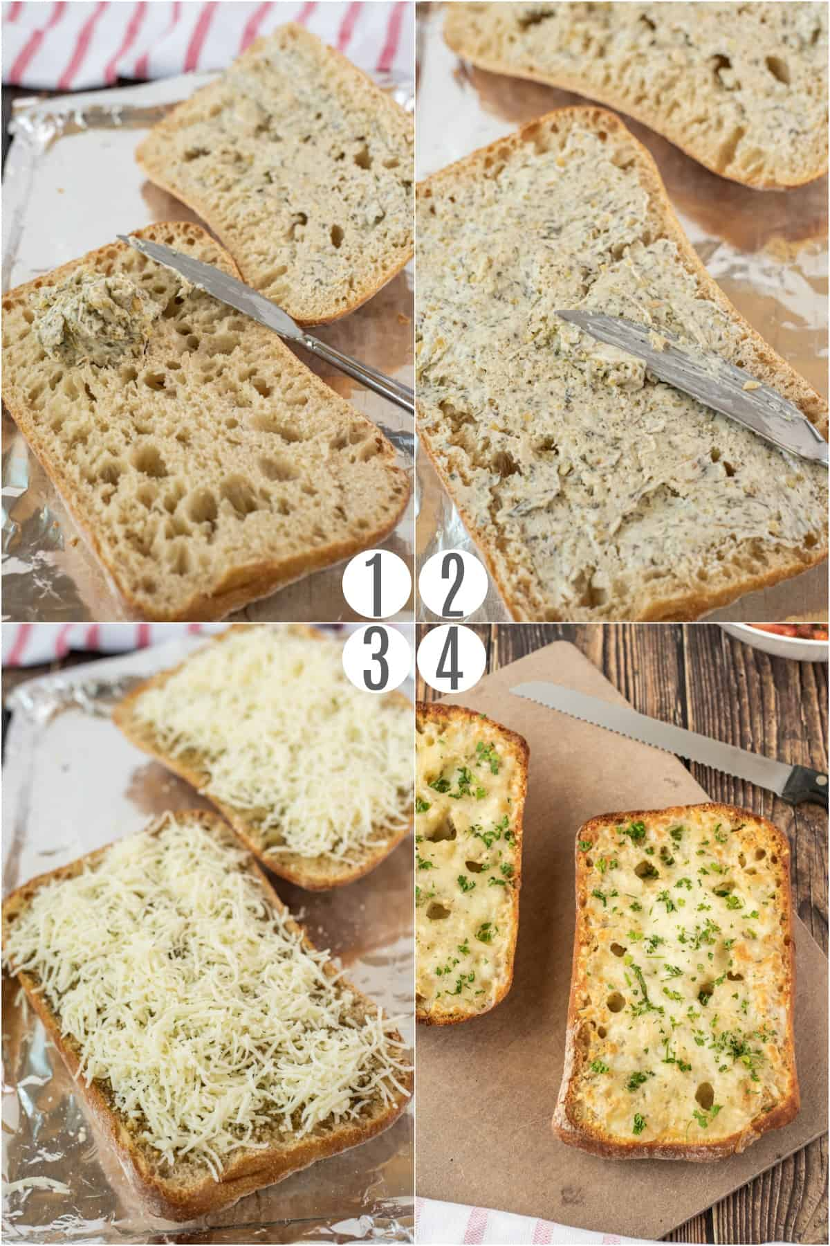 Step by step photos showing how to make cheesy garlic bread.