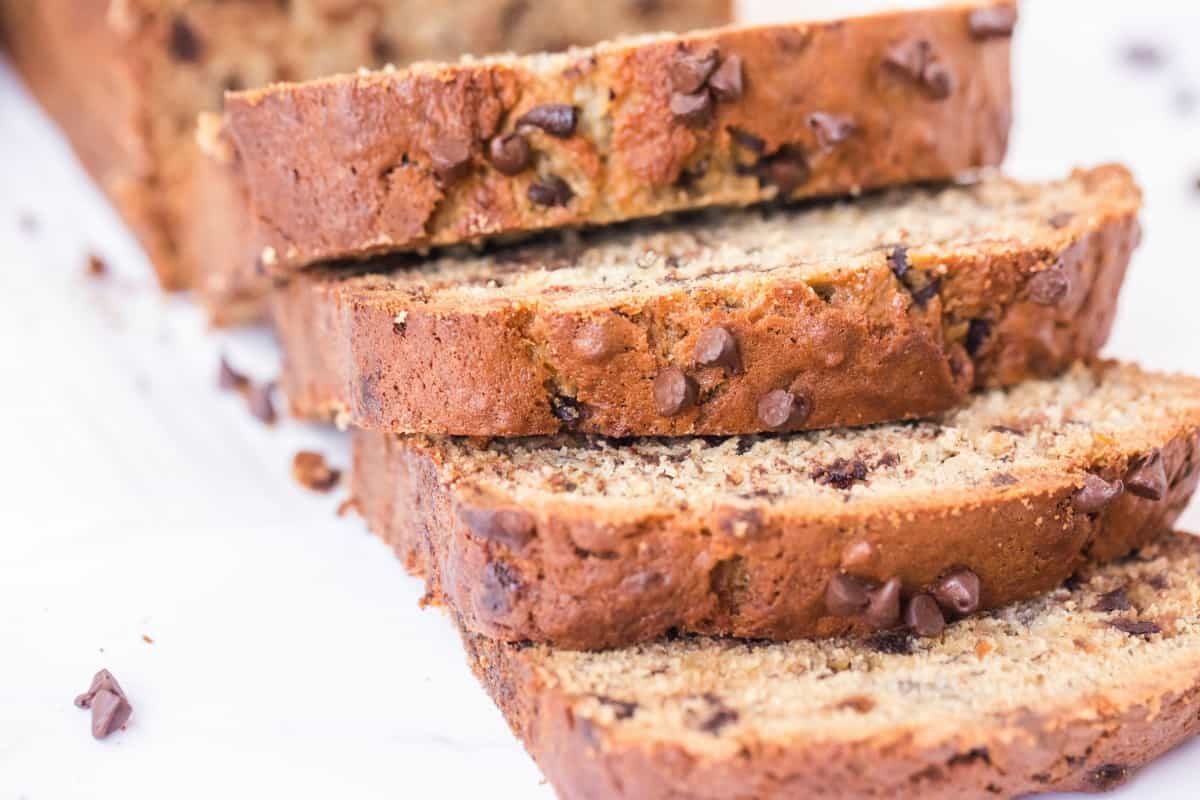 Chocolate Chip Banana bread slices.