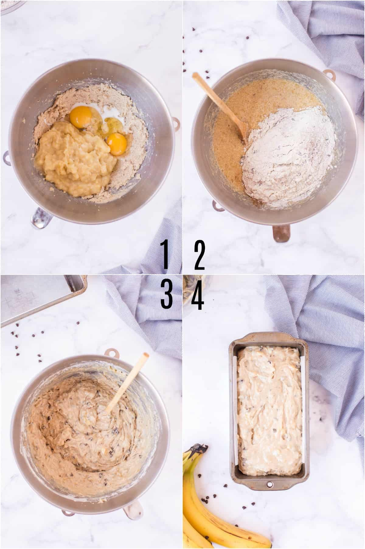 Step by step photos showing how to make chocolate chip banana bread.