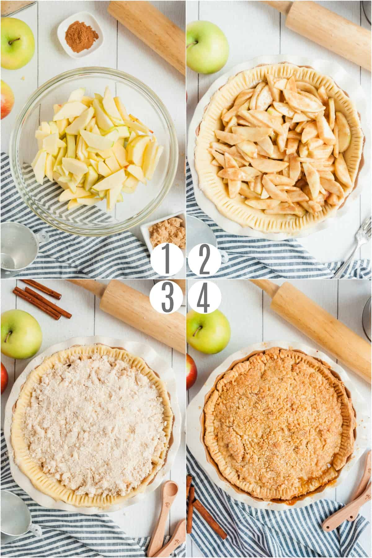 Step by step photos showing how to make a french apple pie.