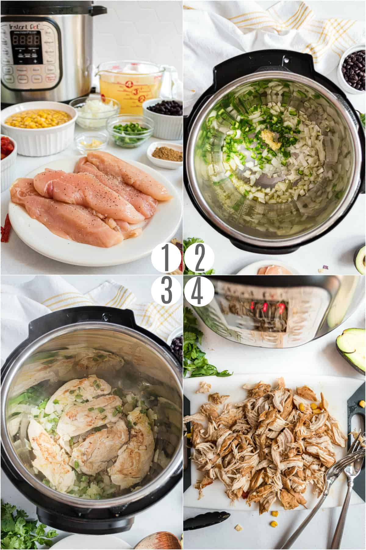 Step by step photos showing how to make chicken tortilla soup in the pressure cooker.