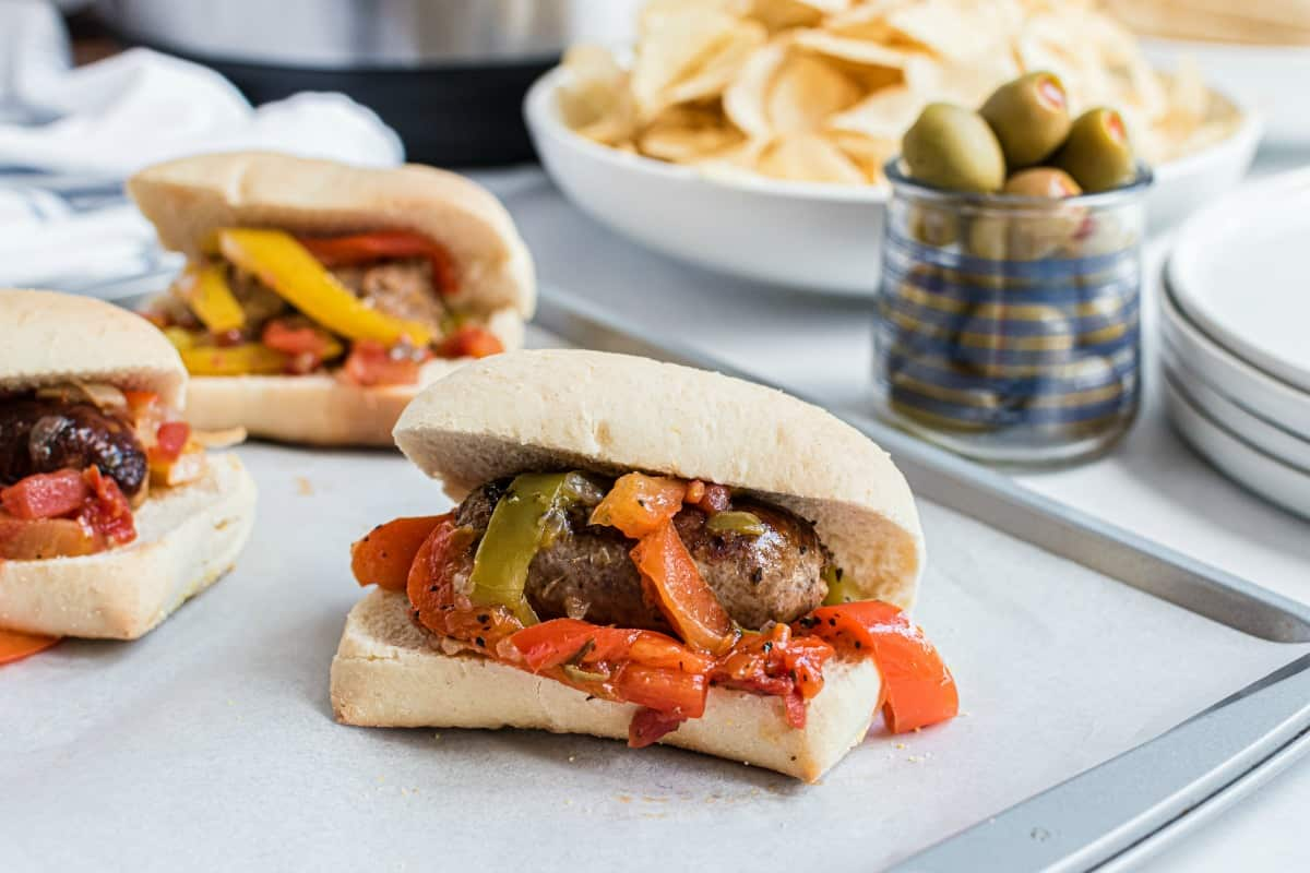 Sausage and peppers cooked in a pressure cooker and served on french rolls.