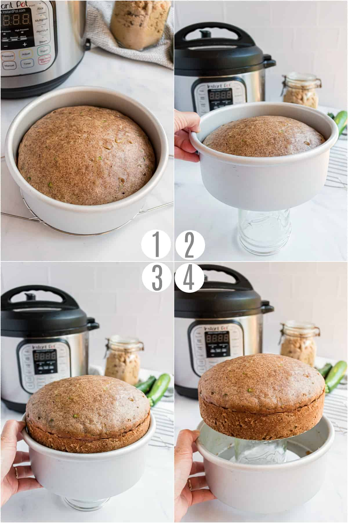 Step by step photos showing how to remove zucchini bread for an instant pot push pan.