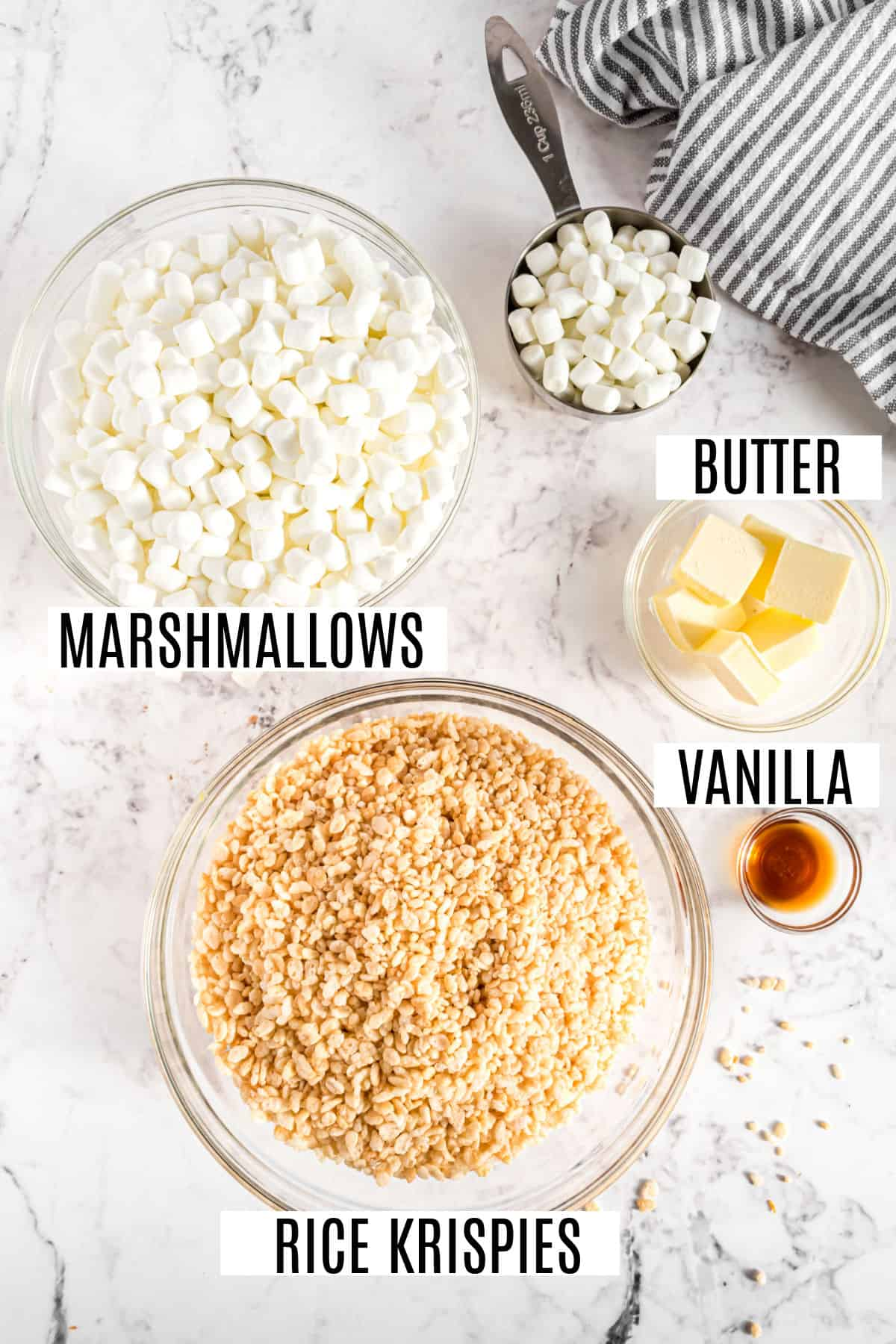 Only four ingredients needed for original rice krispie treats recipe.