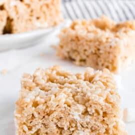 Thick rice krispie treat packed with marshmallows.