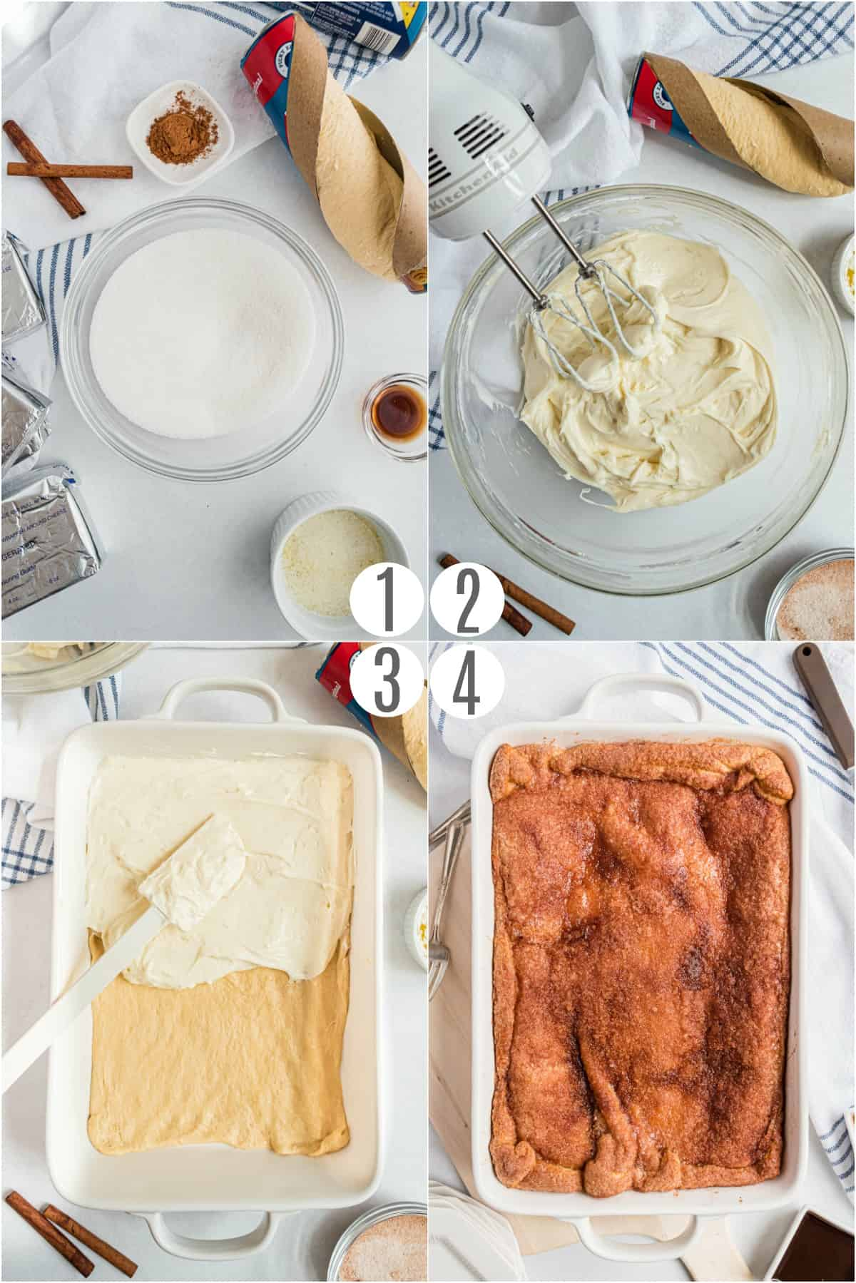 Step by step photos showing how to make sopapilla cheesecake bars.