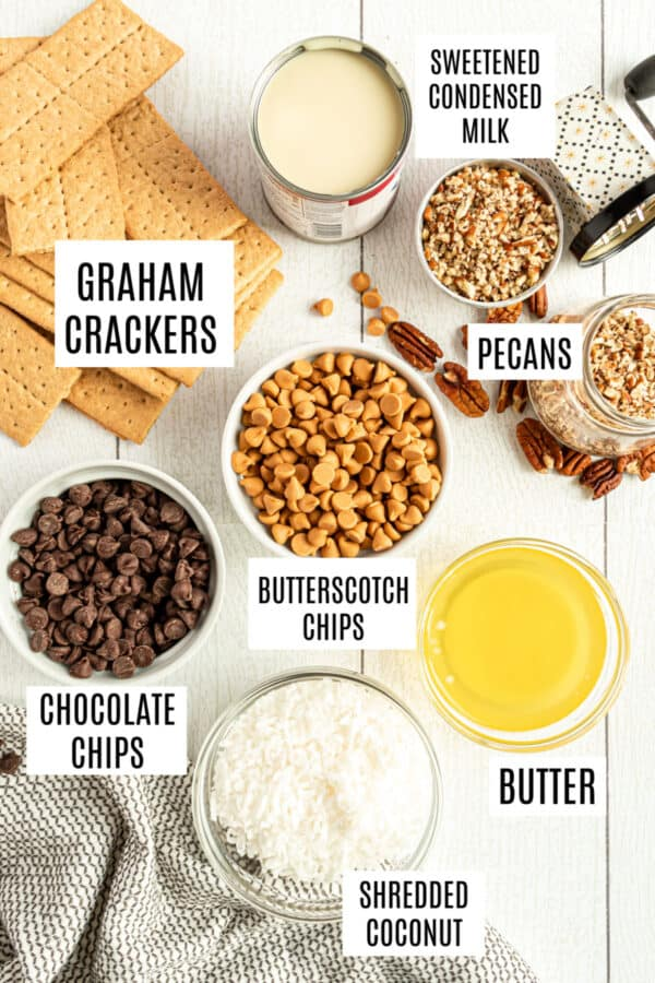Ingredients needed to make 7 layer bars.