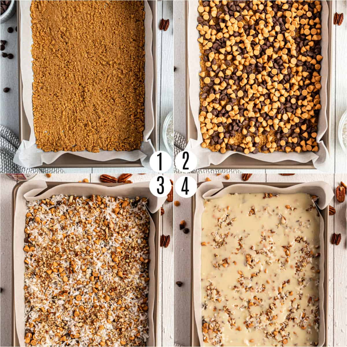 Step by step photos showing how to make 7 layer bars.