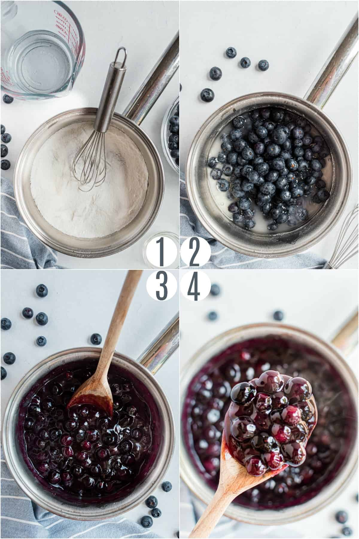 Step by step photos showing how to make blueberry pie filling.