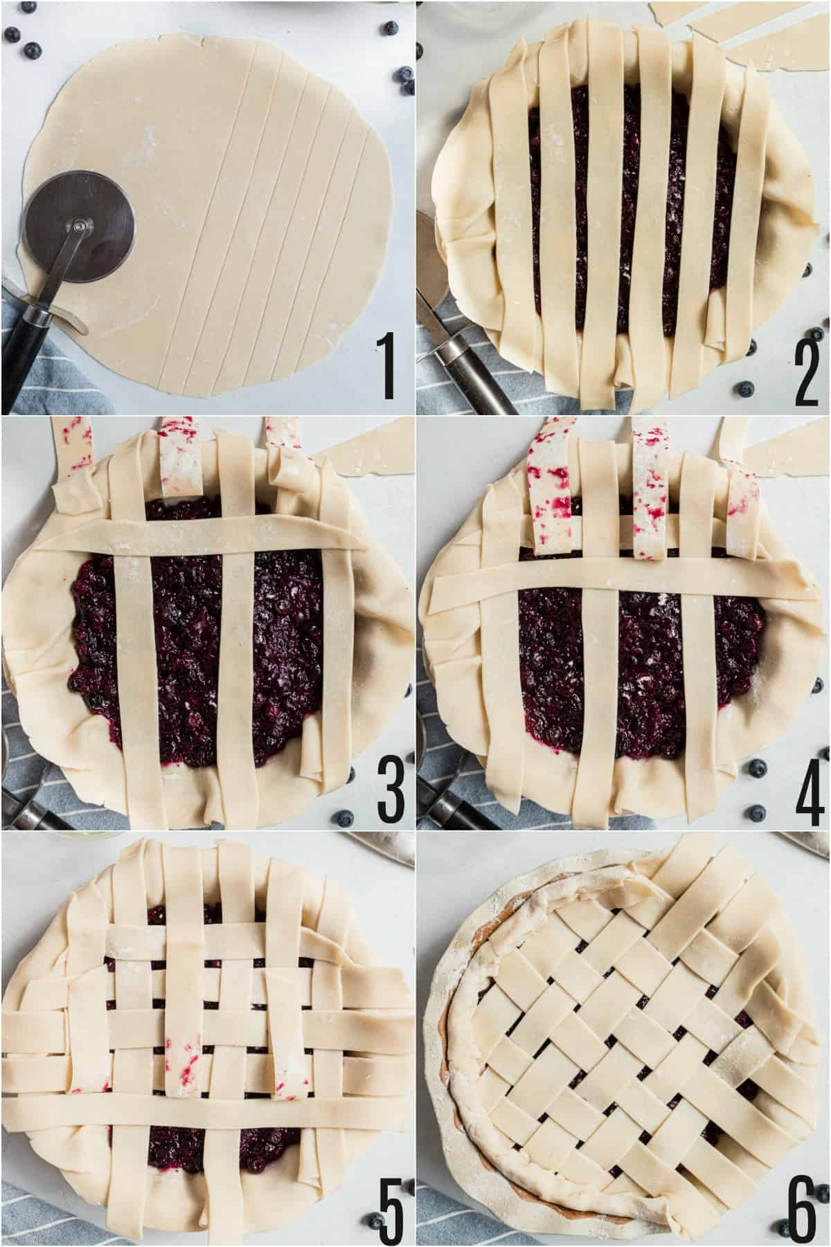 Step by step photos showing how to make a lattice top crust for blueberry pie.