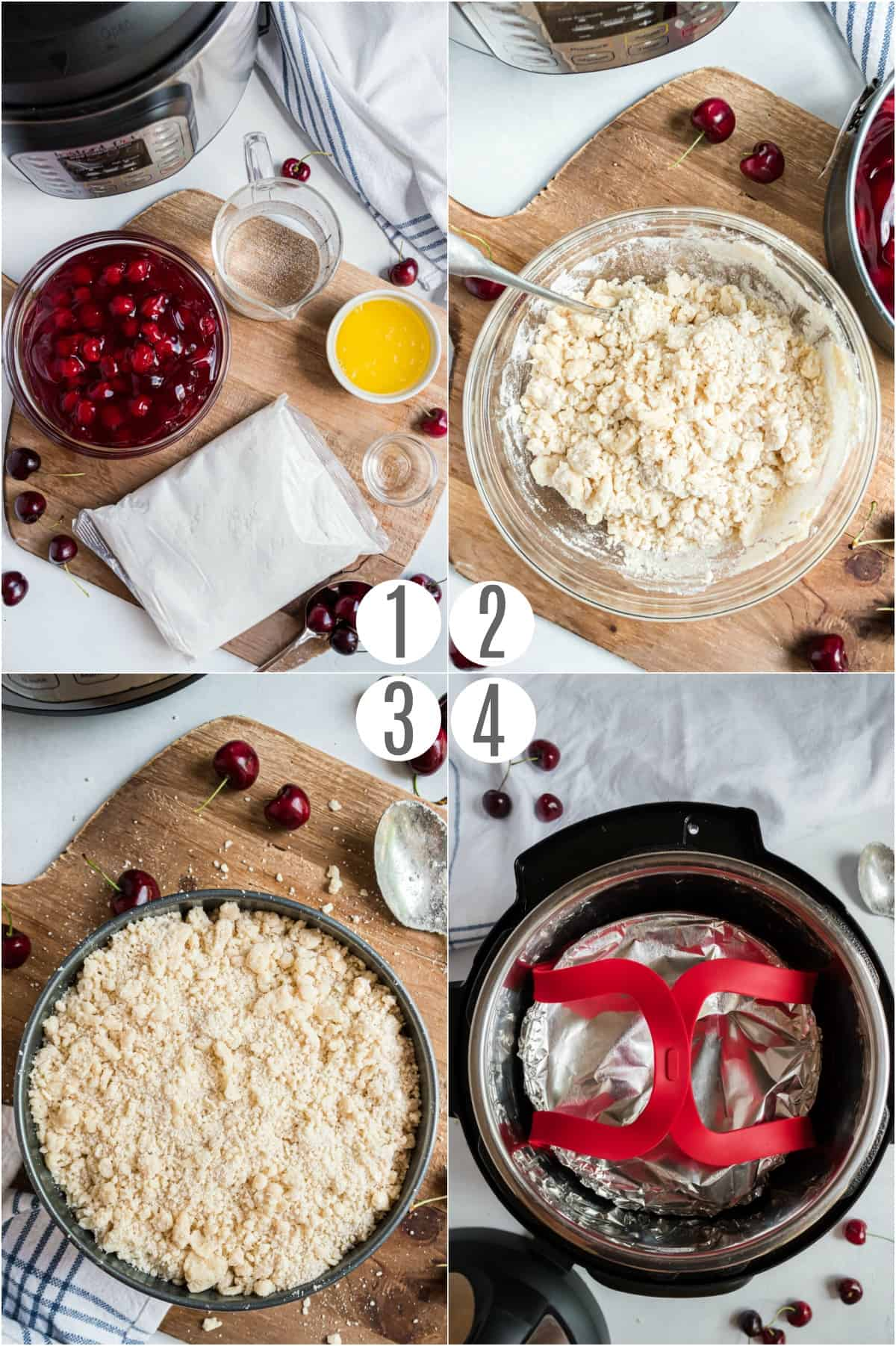 Step by step photos showing how to make cherry cobbler in the pressure cooker.