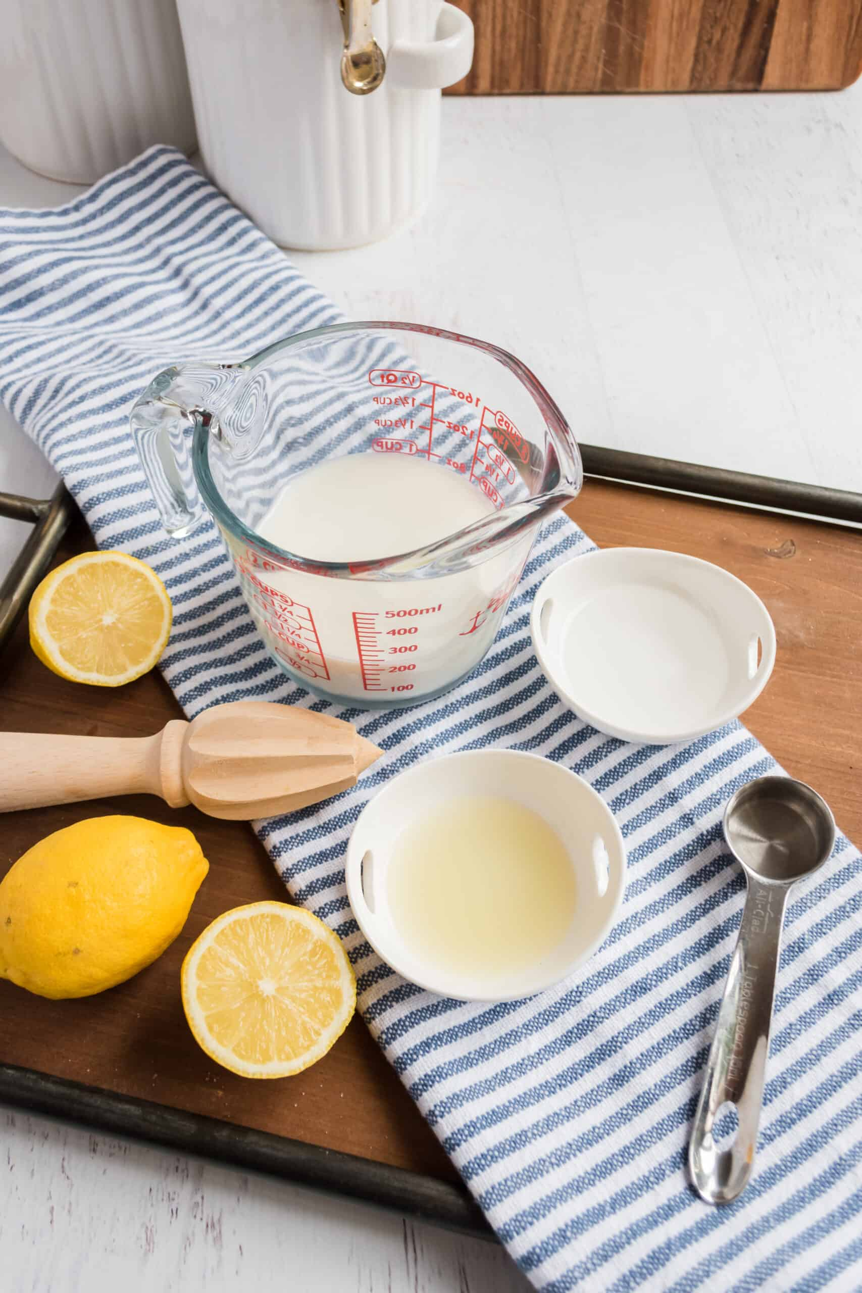 How to make homemade buttermilk with lemon juice and milk.