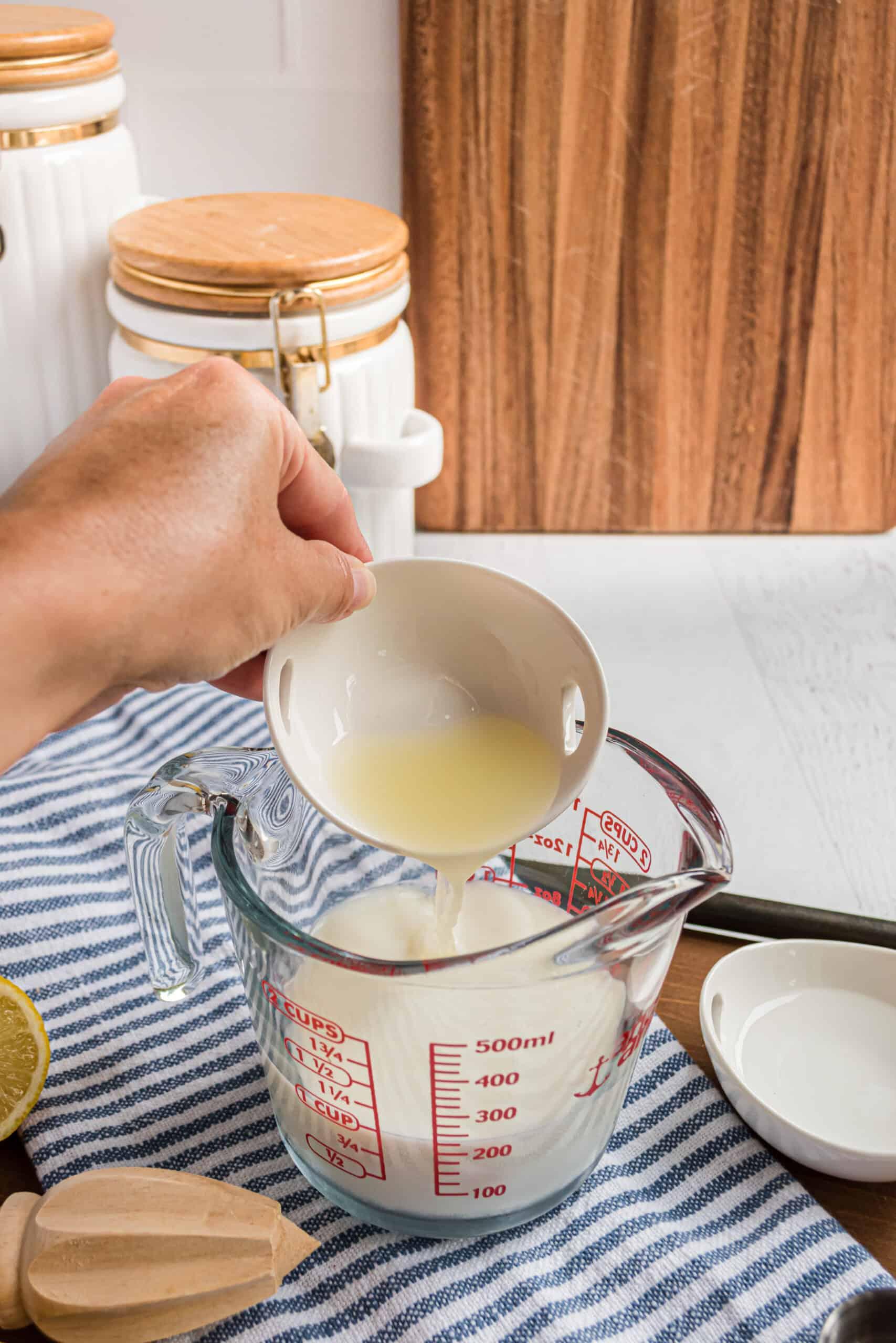 Add lemon juice to milk to create a buttermilk substitute.