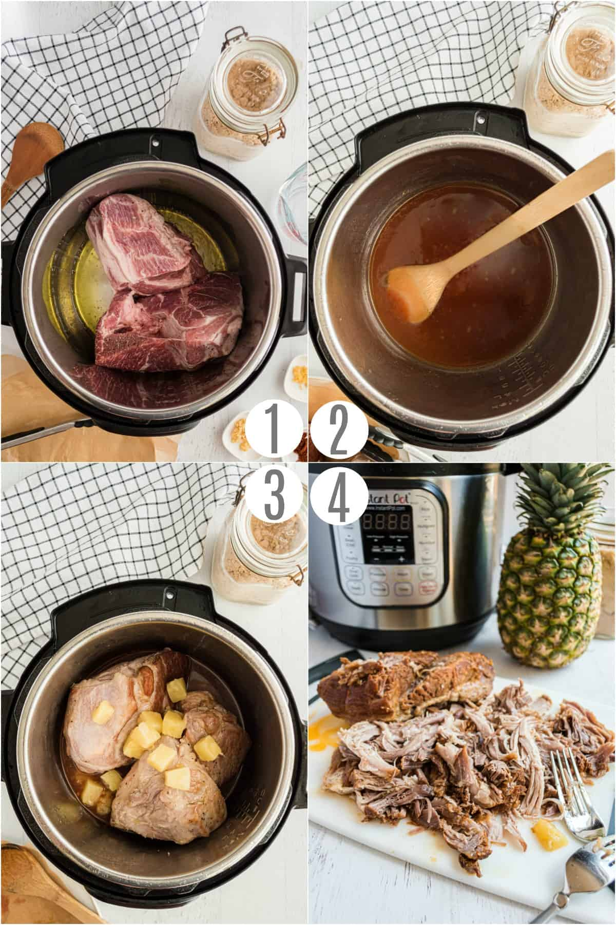 Step by step photos showing how to make Instant Pot Hawaiian Pulled Pork.