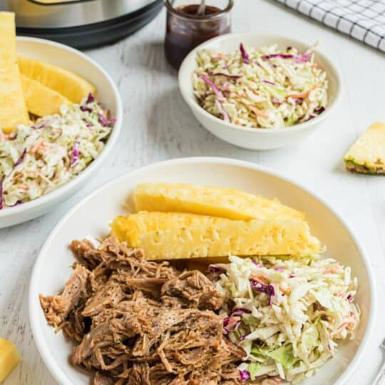 Pulled pork on a plate with pineapple and coleslaw. Pressure cooker in background.