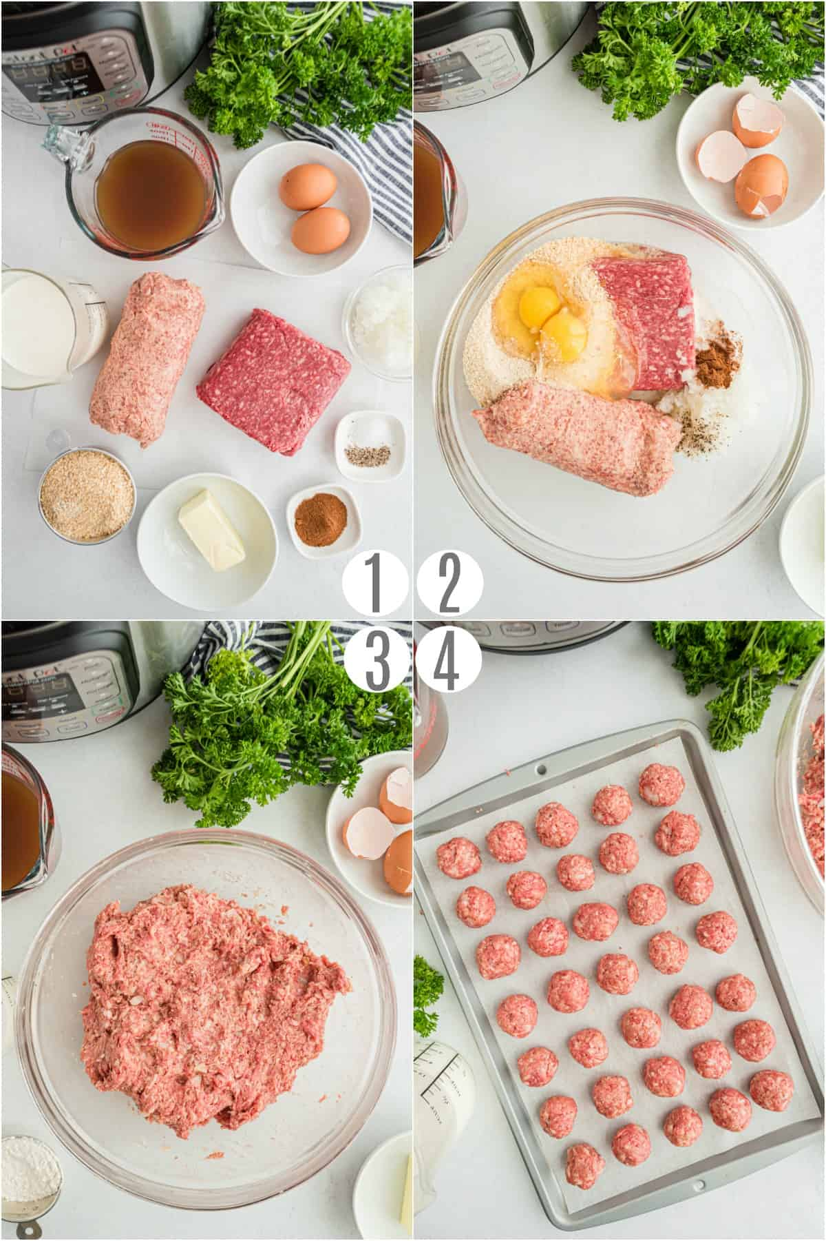 Step by step photos showing how to make meatballs.