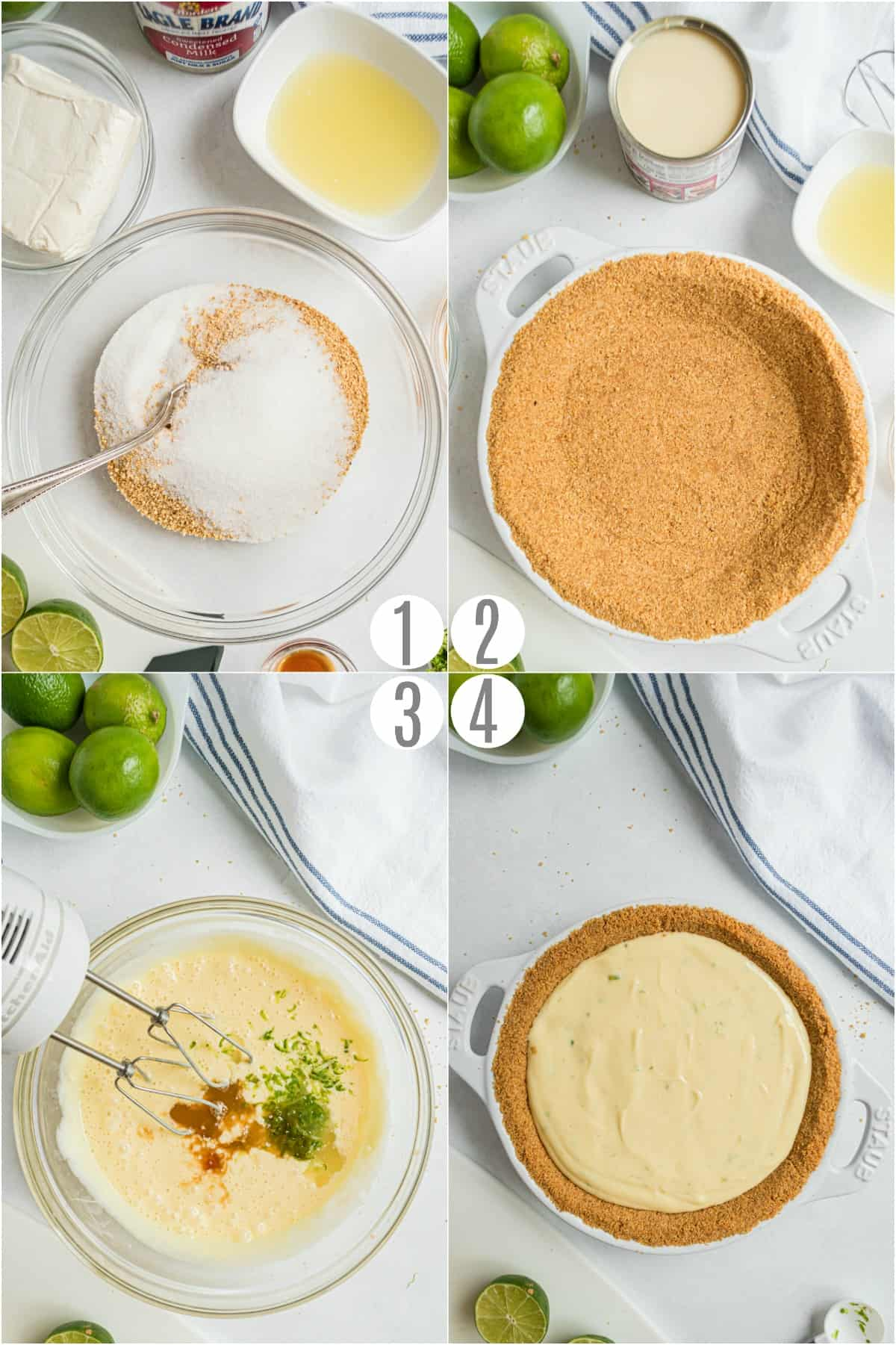Step by step photos showing how to make key lime pie.