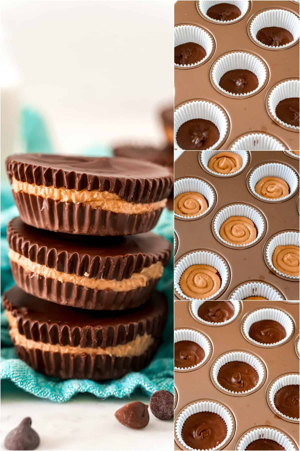 Step by step photos showing how to make reeses peanut butter cups.