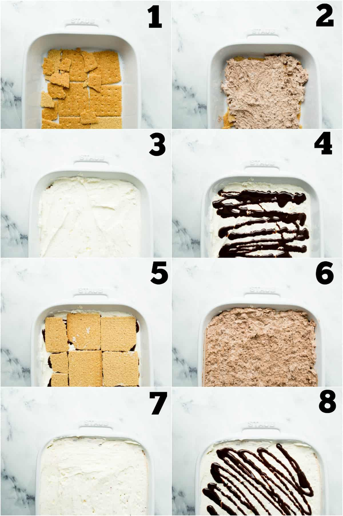 Step by step photos showing how to make smores icebox cake.