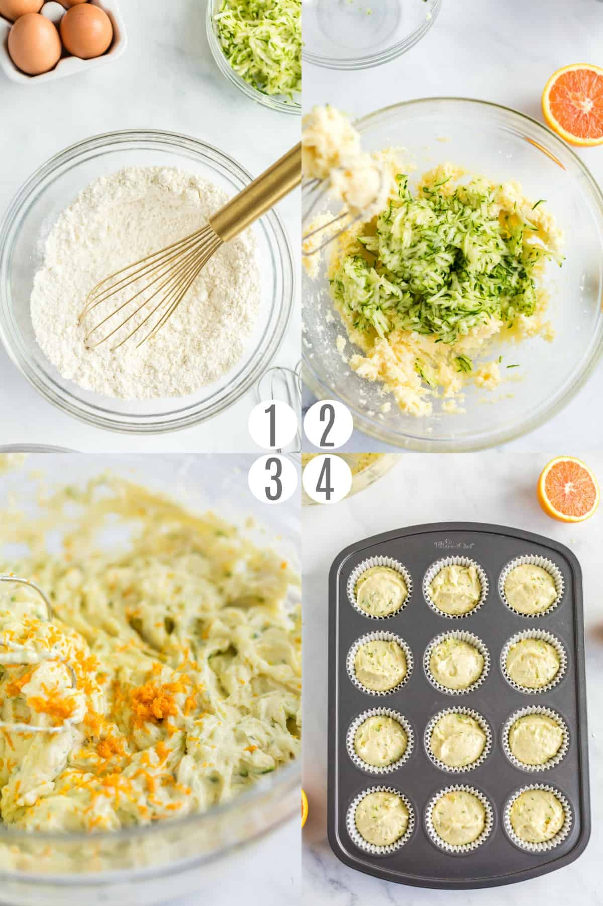 Step by step photos showing how to make zucchini orange muffins.