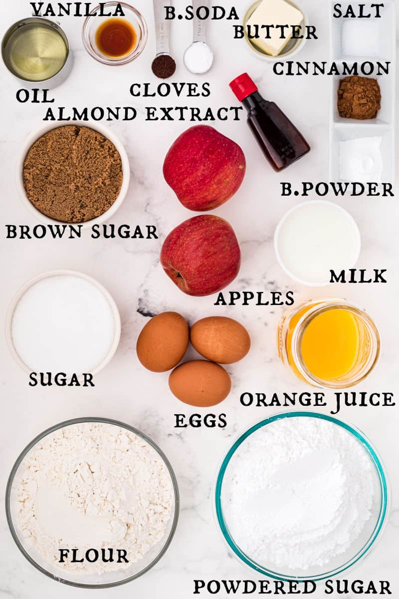 Ingredients needed to make apple spice muffins.