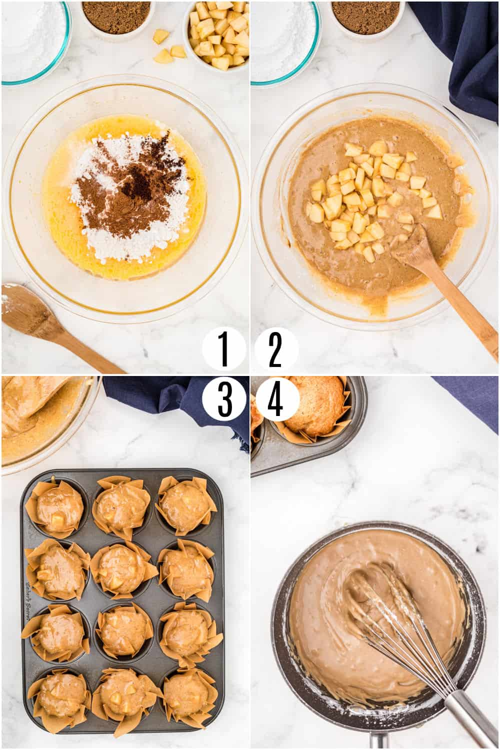 Step by step photos showing how to make apple muffins.