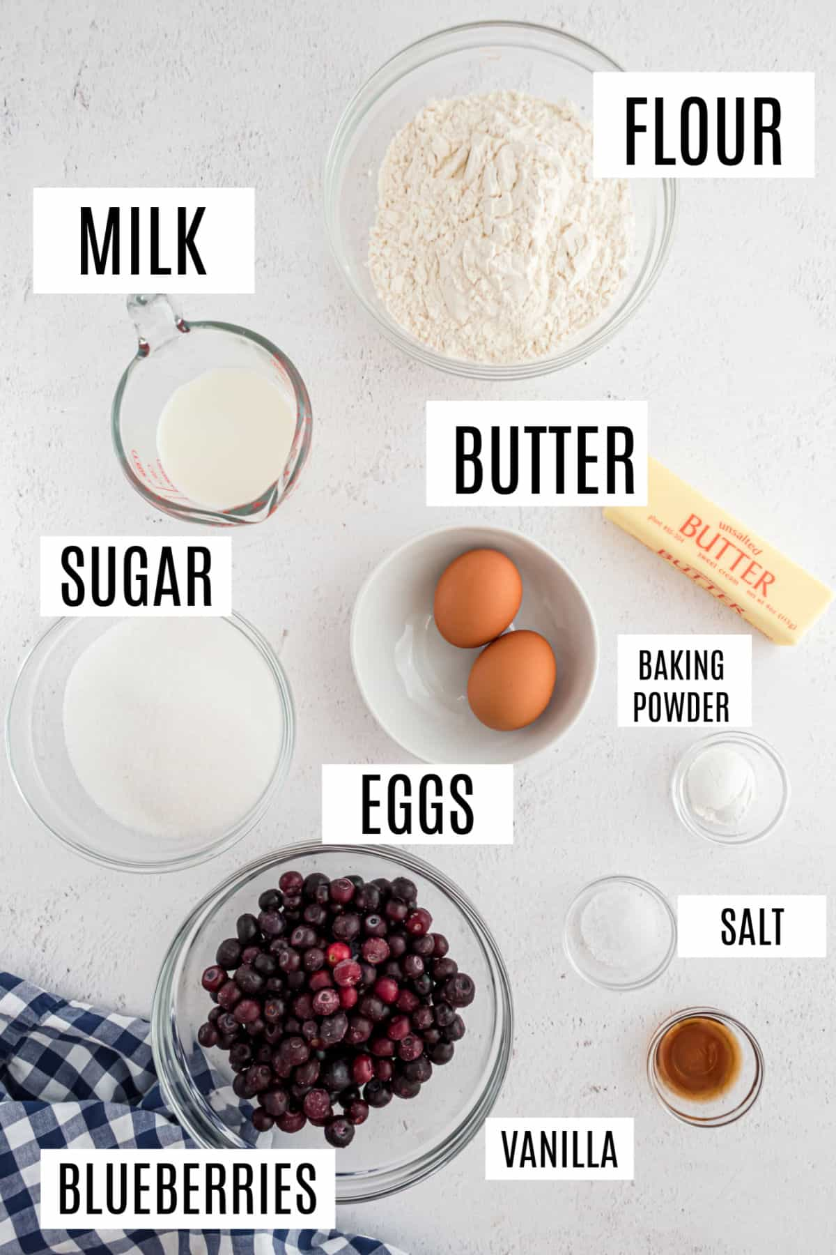 Ingredients needed to make blueberry muffins.