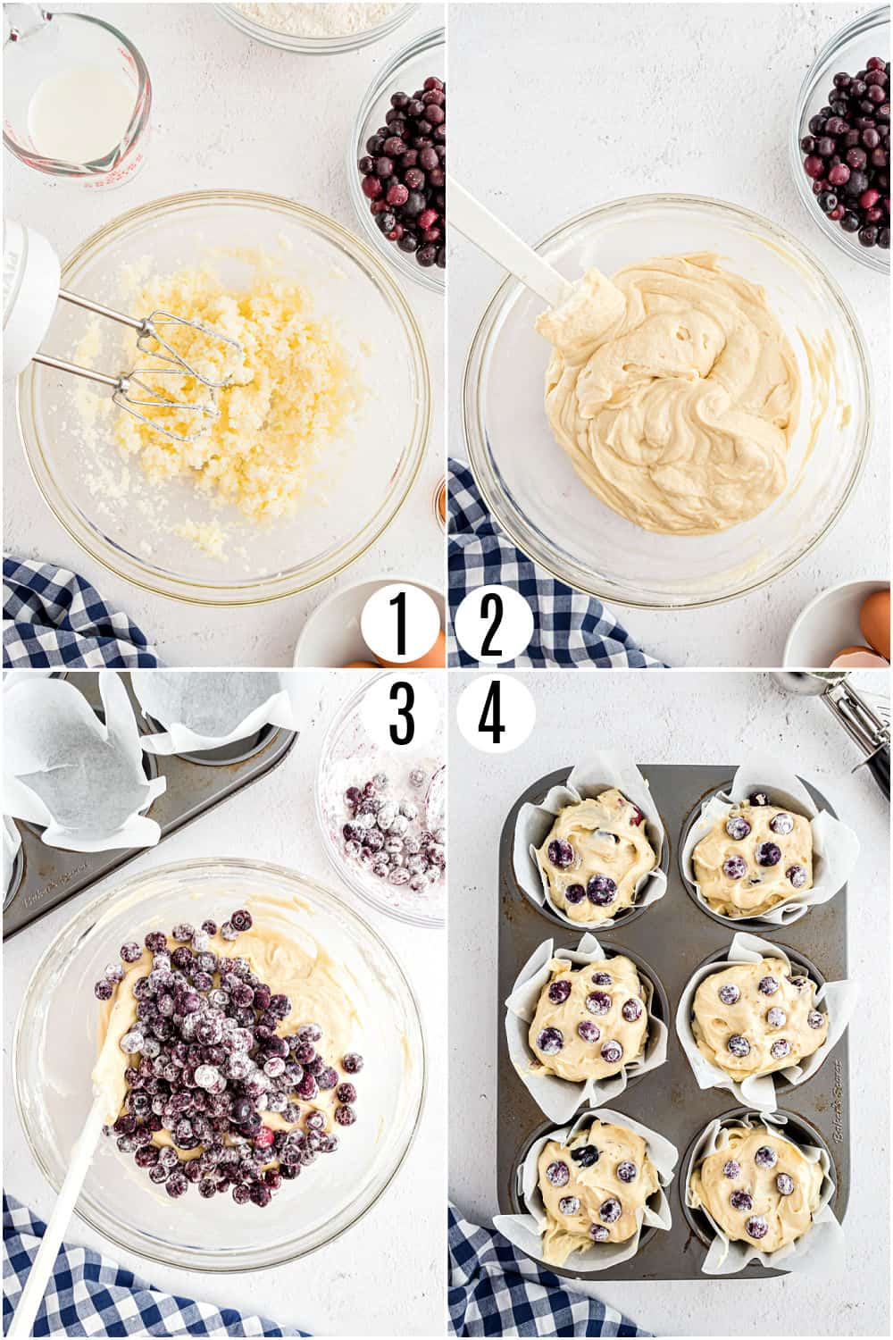 Step by step photos showing how to make blueberry muffins.