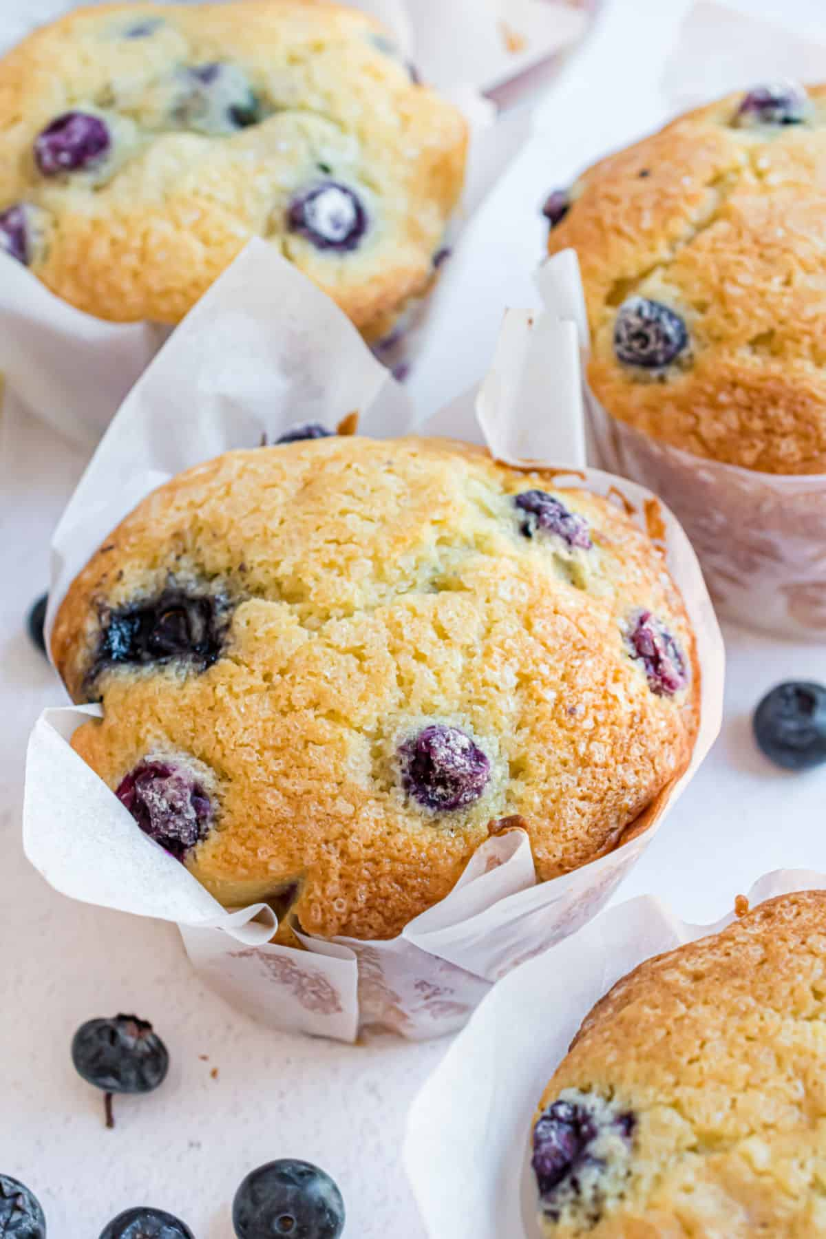 Blueberry muffins baked in parchment paper liners.